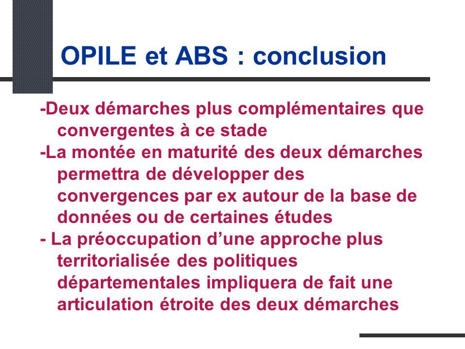 OPILE et ABS : conclusion -Deux démarches plus complémentaires que convergentes à ce stade -La montée en maturité des deux démarches permettra de développer des convergences par ex autour de la base de données ou de certaines études - La préoccupation dune approche plus territorialisée des politiques départementales impliquera de fait une articulation étroite des deux démarches