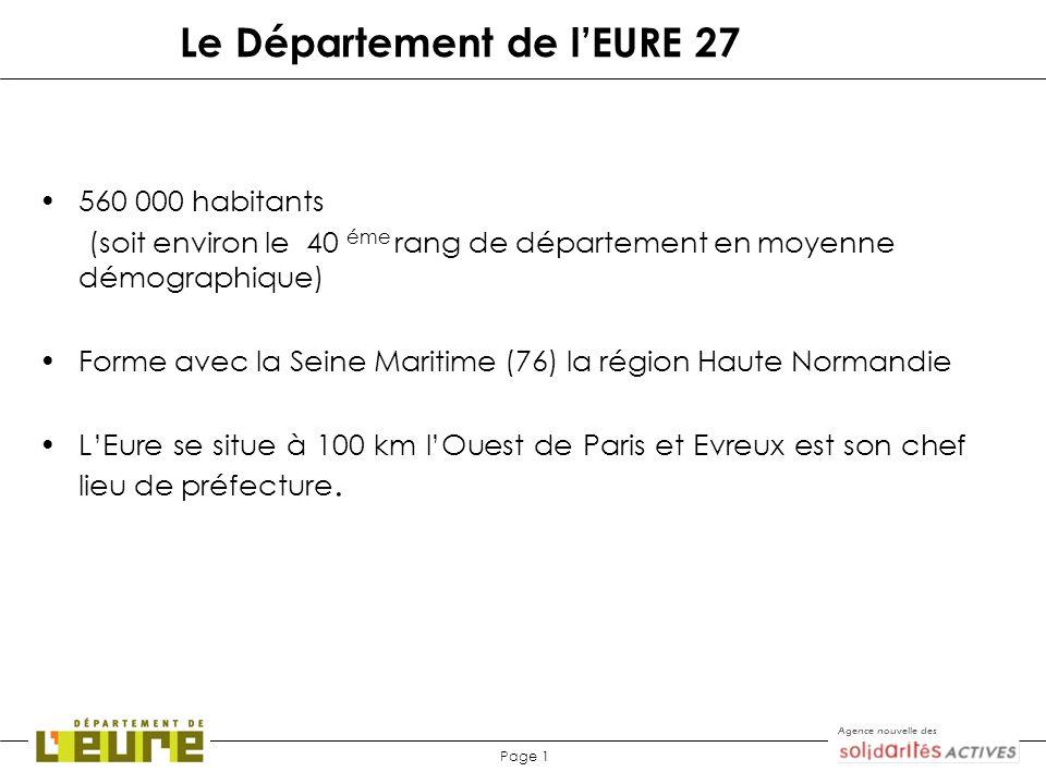Agence nouvelle des Page 1 Le Département de lEURE 27 560 000 habitants (soit environ le 40 éme rang de département en moyenne démographique) Forme av