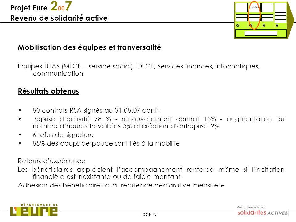 Agence nouvelle des Page 10 Projet Eure 2 00 7 Revenu de solidarité active Mobilisation des équipes et tranversalité Equipes UTAS (MLCE – service soci