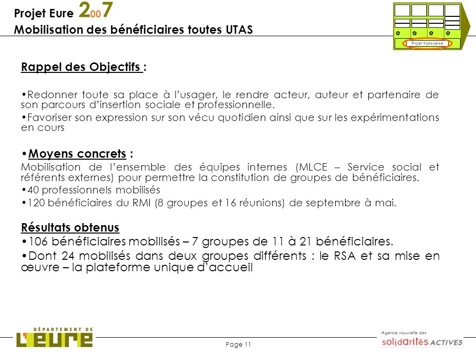 Agence nouvelle des Page 11 Projet Eure 2 00 7 Mobilisation des bénéficiaires toutes UTAS Rappel des Objectifs : Redonner toute sa place à lusager, le
