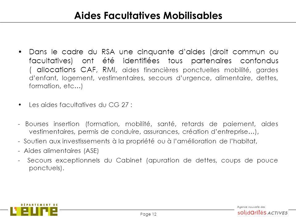 Agence nouvelle des Page 12 Aides Facultatives Mobilisables Dans le cadre du RSA une cinquante daides (droit commun ou facultatives) ont été identifié