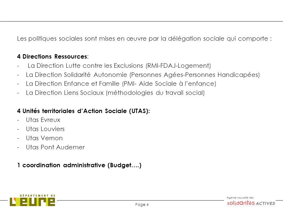 Agence nouvelle des Page 4 Les politiques sociales sont mises en œuvre par la délégation sociale qui comporte : 4 Directions Ressources : - La Directi