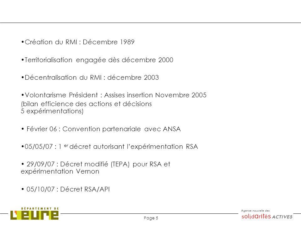 Agence nouvelle des Page 5 Création du RMI : Décembre 1989 Territorialisation engagée dès décembre 2000 Décentralisation du RMI : décembre 2003 Volont