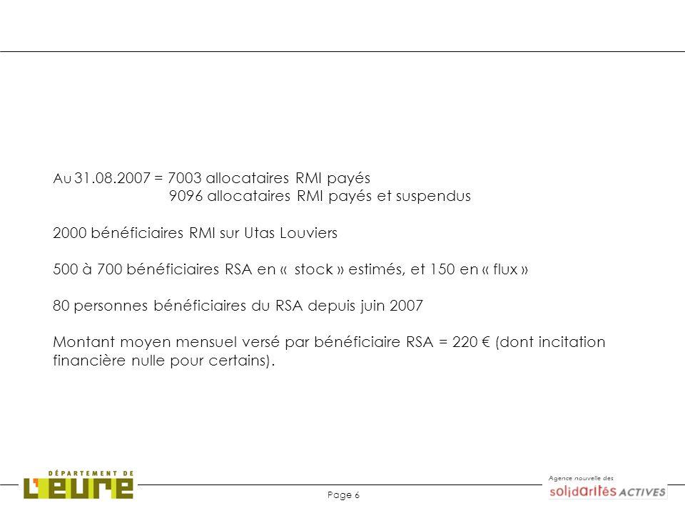 Agence nouvelle des Page 6 Au 31.08.2007 = 7003 allocataires RMI payés 9096 allocataires RMI payés et suspendus 2000 bénéficiaires RMI sur Utas Louvie