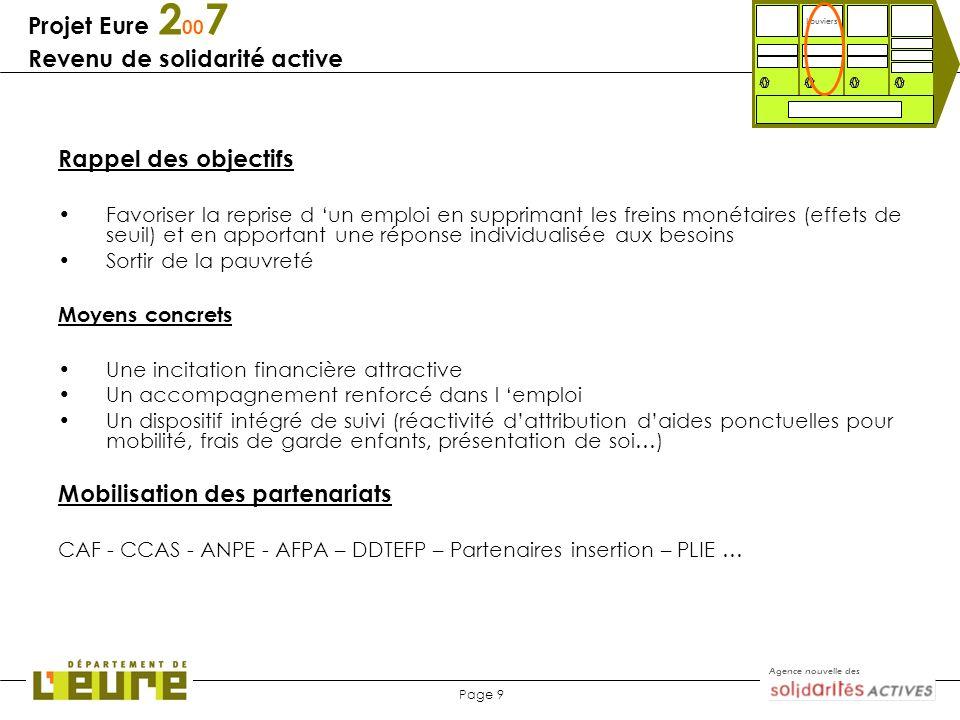 Agence nouvelle des Page 9 Projet Eure 2 00 7 Revenu de solidarité active Louviers Rappel des objectifs Favoriser la reprise d un emploi en supprimant