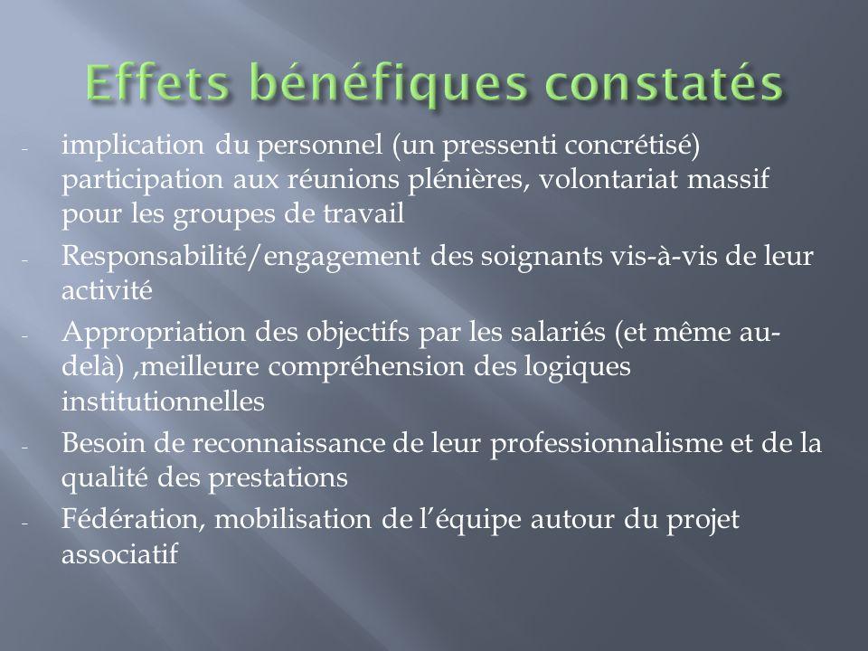 - implication du personnel (un pressenti concrétisé) participation aux réunions plénières, volontariat massif pour les groupes de travail - Responsabi