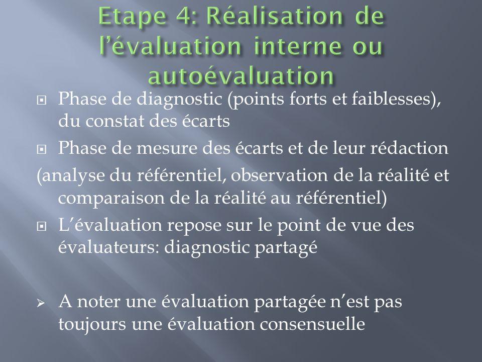 Phase de diagnostic (points forts et faiblesses), du constat des écarts Phase de mesure des écarts et de leur rédaction (analyse du référentiel, obser