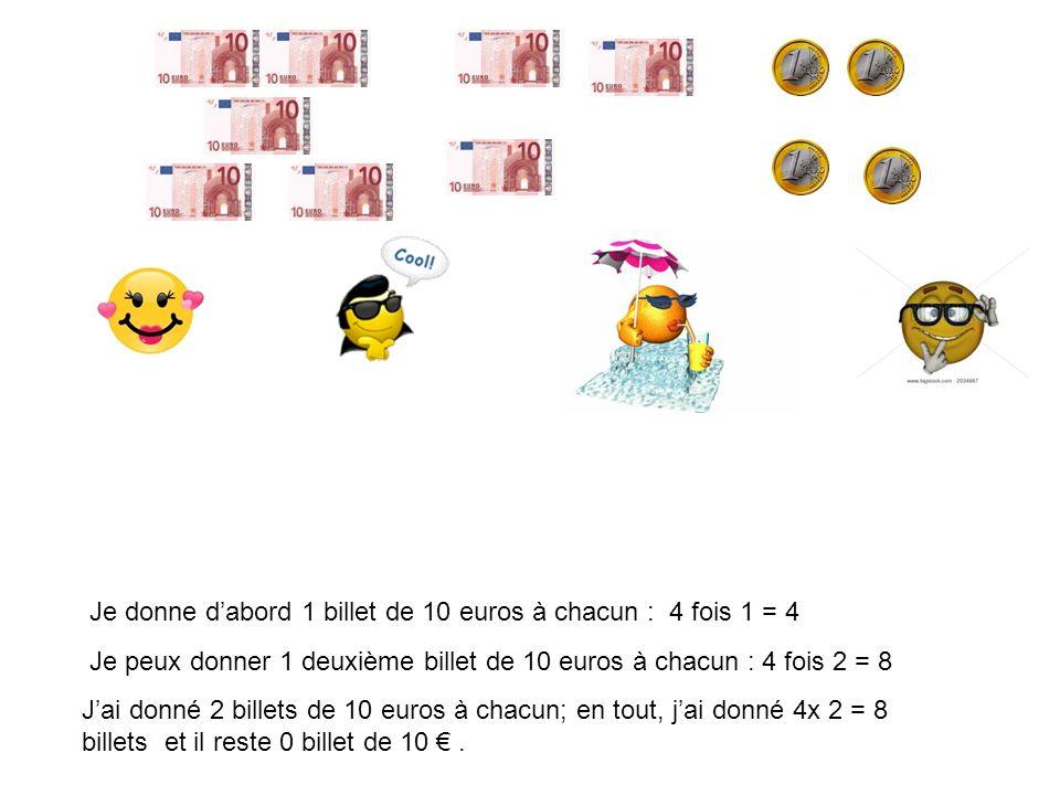 Je donne dabord 1 billet de 10 euros à chacun : 4 fois 1 = 4 Je peux donner 1 deuxième billet de 10 euros à chacun : 4 fois 2 = 8 Jai donné 2 billets