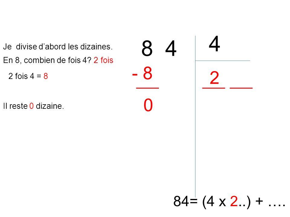 8 4 4 84= (4 x 2..) + …. En 8, combien de fois 4? 2 fois 2 2 fois 4 = 8 - 8 Il reste 0 dizaine. 0 Je divise dabord les dizaines.