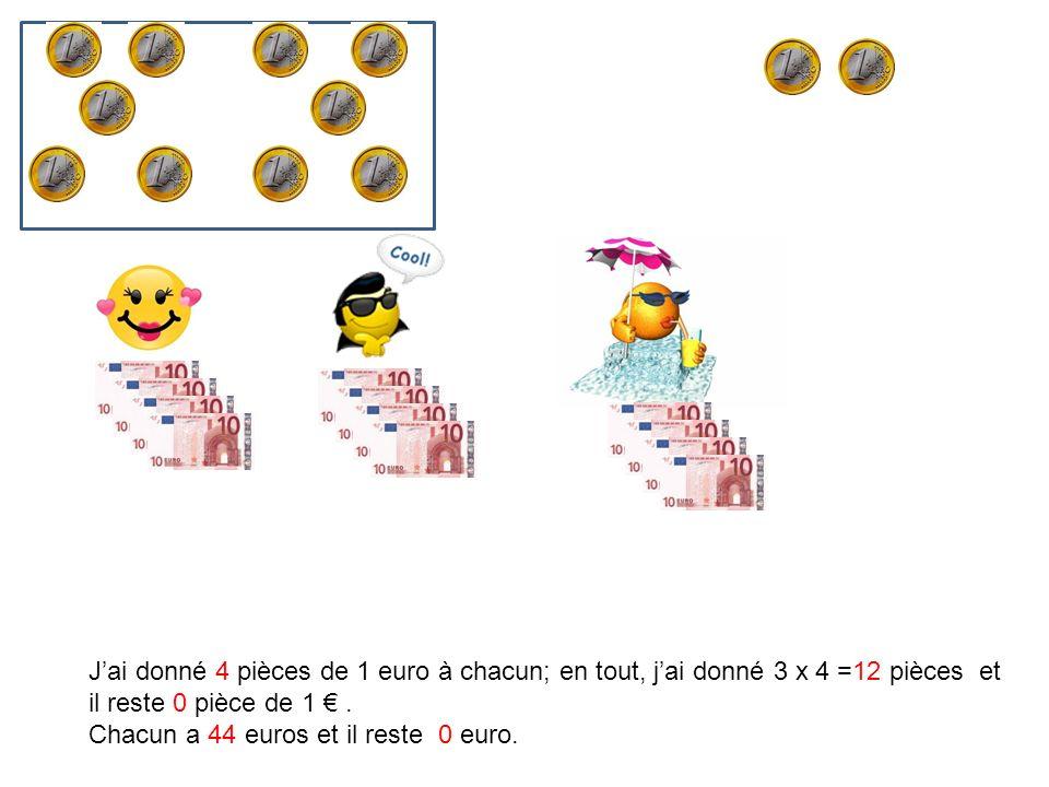 Jai donné 4 pièces de 1 euro à chacun; en tout, jai donné 3 x 4 =12 pièces et il reste 0 pièce de 1. Chacun a 44 euros et il reste 0 euro.