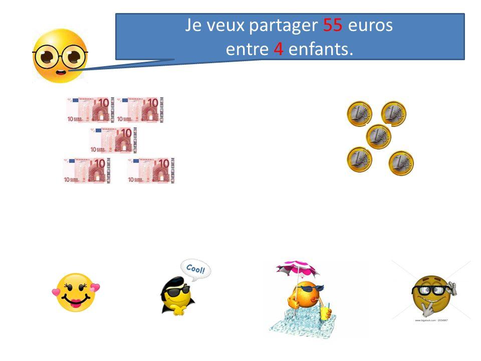 Je donne dabord 1 billet de 10 euros à chacun : 4 fois 1 = 4 Je peux donner 1 deuxième billet de 10 euros à chacun : 4 fois 2 = 8 Jai donné 2 billets de 10 euros à chacun; en tout, jai donné 4x 2 = 8 billets et il reste 0 billet de 10.