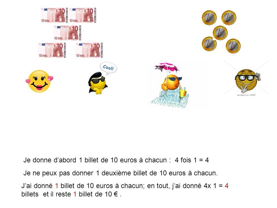 Je donne dabord 1 billet de 100 euros à chacun : 4 fois 1 = 4 Je ne peux pas donner 1 deuxième billet de 100 euros à chacun.