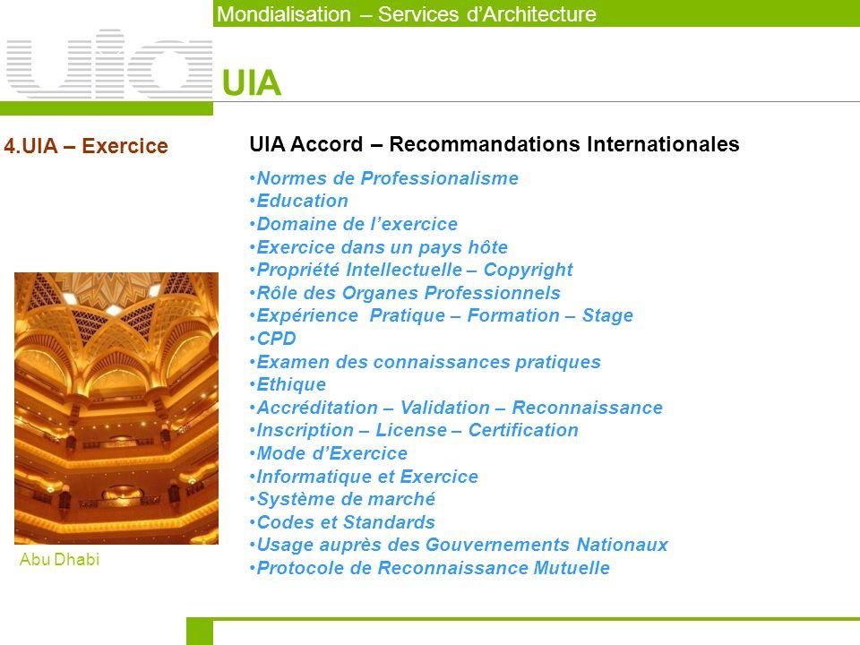Mondialisation – Services dArchitecture UIA 4.UIA – Exercice UIA Accord – Recommandations Internationales Normes de Professionalisme Education Domaine