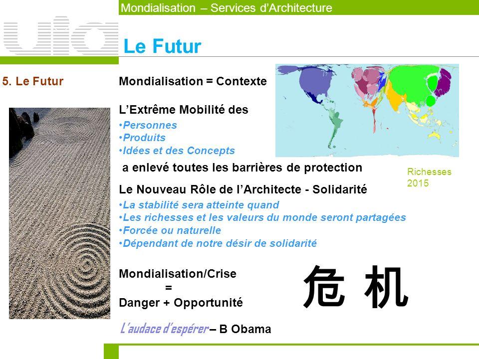 LExtrême Mobilité des a enlevé toutes les barrières de protection Mondialisation = Contexte5. Le Futur Mondialisation – Services dArchitecture Le Futu