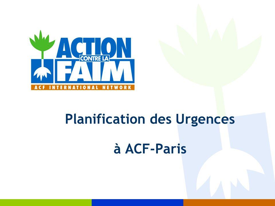 Planification des Urgences à ACF-Paris