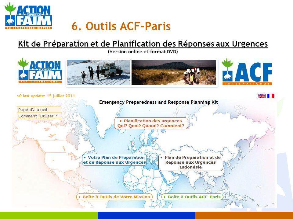 6. Outils ACF-Paris Kit de Préparation et de Planification des Réponses aux Urgences (Version online et format DVD)