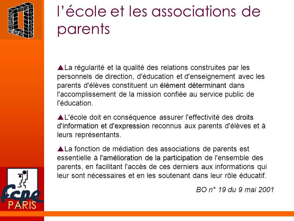 lécole et les associations de parents élément déterminant La régularité et la qualité des relations construites par les personnels de direction, d'édu