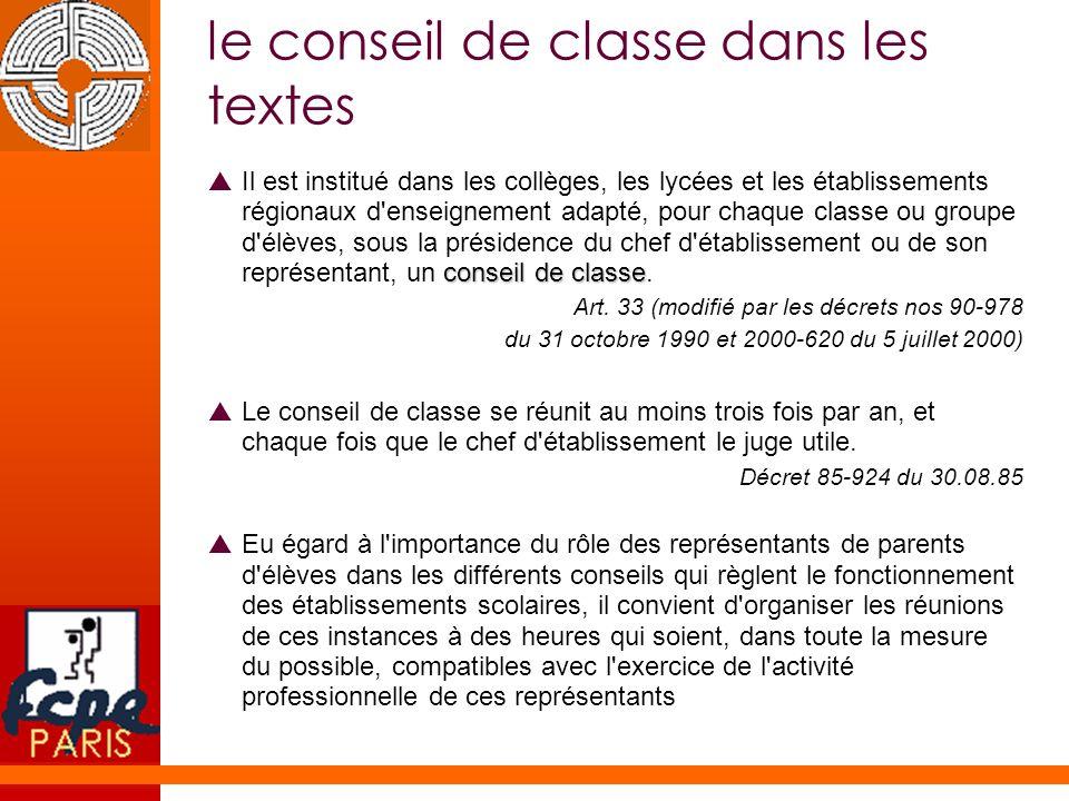 le conseil de classe dans les textes conseil de classe Il est institué dans les collèges, les lycées et les établissements régionaux d'enseignement ad