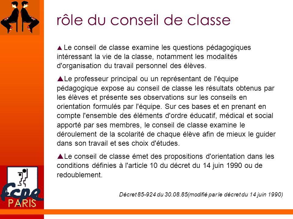 rôle du conseil de classe Le conseil de classe examine les questions pédagogiques intéressant la vie de la classe, notamment les modalités d'organisat