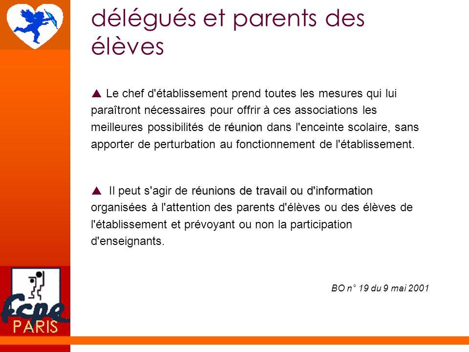 délégués et parents des élèves réunion Le chef d'établissement prend toutes les mesures qui lui paraîtront nécessaires pour offrir à ces associations