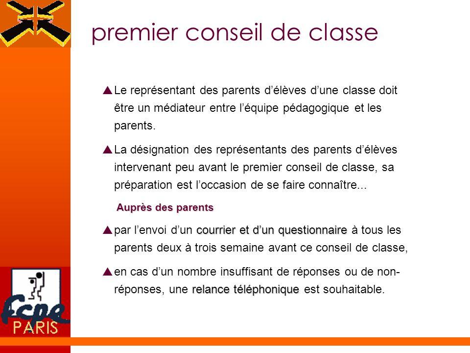 premier conseil de classe Le représentant des parents délèves dune classe doit être un médiateur entre léquipe pédagogique et les parents. La désignat