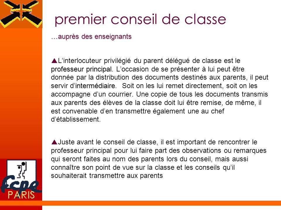 premier conseil de classe …auprès des enseignants …auprès des enseignants professeur principal intermédiaire Linterlocuteur privilégié du parent délég