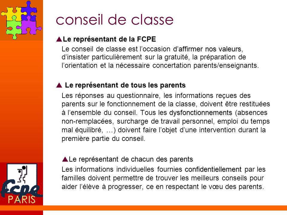 conseil de classe Le représentant de la FCPE Le représentant de la FCPE daffirmer nos valeurs Le conseil de classe est loccasion daffirmer nos valeurs