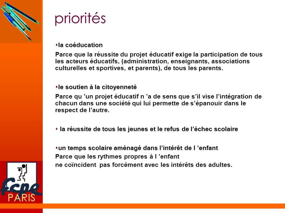 priorités sla coéducation Parce que la réussite du projet éducatif exige la participation de tous les acteurs éducatifs, (administration, enseignants,