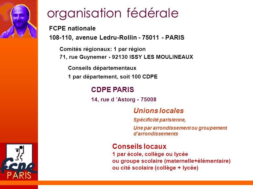 organisation fédérale FCPE nationale 108-110, avenue Ledru-Rollin - 75011 - PARIS Comités régionaux: 1 par région 71, rue Guynemer - 92130 ISSY LES MO
