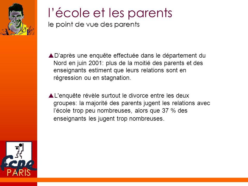 le point de vue de lÉducation nationale Lécole et les parents le point de vue de lÉducation nationale Les relations famille/école, en particulier en direction des familles de préadolescents et dadolescents, constitue une priorité nationale.
