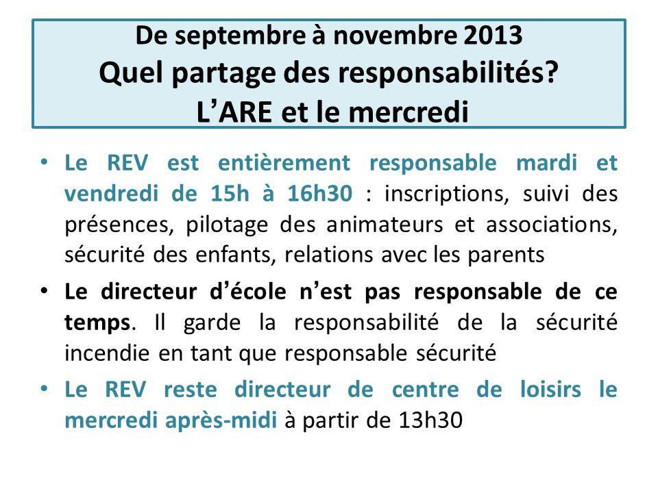 De septembre à novembre 2013 Quel partage des responsabilités? LARE et le mercredi Le REV est entièrement responsable mardi et vendredi de 15h à 16h30