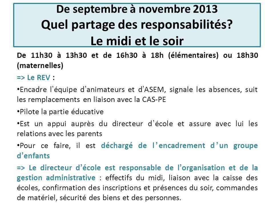 De septembre à novembre 2013 Quel partage des responsabilités? Le midi et le soir De 11h30 à 13h30 et de 16h30 à 18h (élémentaires) ou 18h30 (maternel