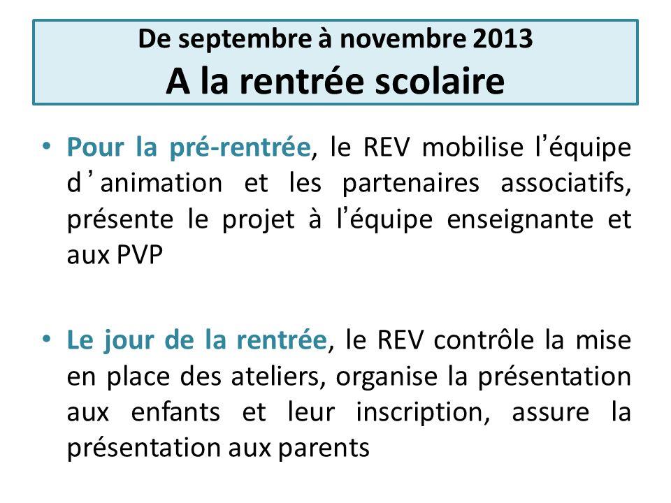 De septembre à novembre 2013 A la rentrée scolaire Pour la pré-rentrée, le REV mobilise léquipe danimation et les partenaires associatifs, présente le