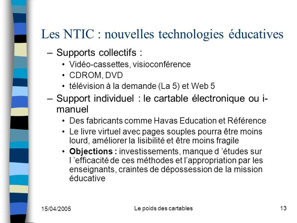 15/04/2005 Le poids des cartables13 Les NTIC : nouvelles technologies éducatives –Supports collectifs : Vidéo-cassettes, visioconférence CDROM, DVD té