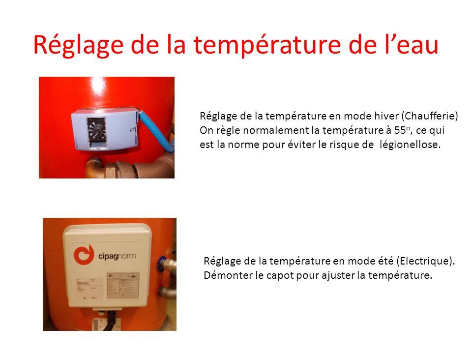 Réglage de la température de leau Réglage de la température en mode hiver (Chaufferie) On règle normalement la température à 55 o, ce qui est la norme