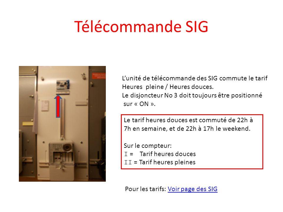 Télécommande SIG Lunité de télécommande des SIG commute le tarif Heures pleine / Heures douces. Le disjoncteur No 3 doit toujours être positionné sur