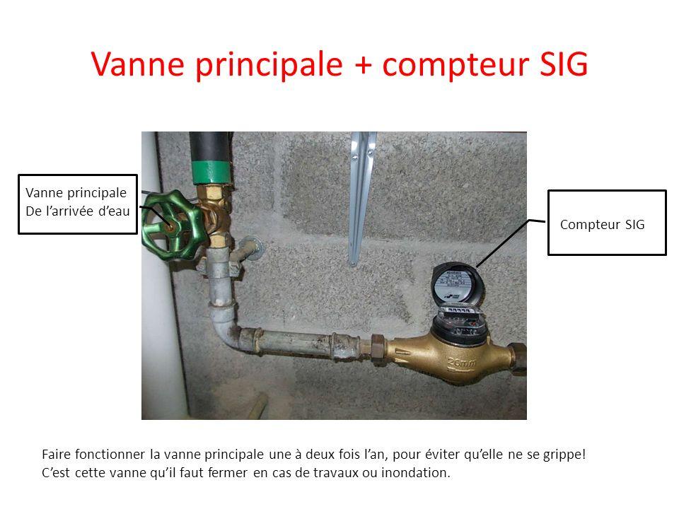 Vanne principale + compteur SIG Vanne principale De larrivée deau Compteur SIG Faire fonctionner la vanne principale une à deux fois lan, pour éviter
