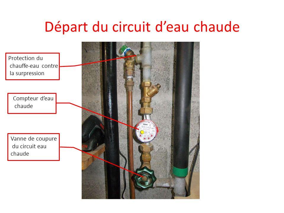 Départ du circuit deau chaude Protection du chauffe-eau contre la surpression Compteur deau chaude Vanne de coupure du circuit eau chaude