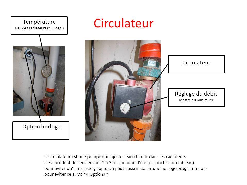 Circulateur Réglage du débit Mettre au minimum Le circulateur est une pompe qui injecte leau chaude dans les radiateurs. Il est prudent de lenclencher
