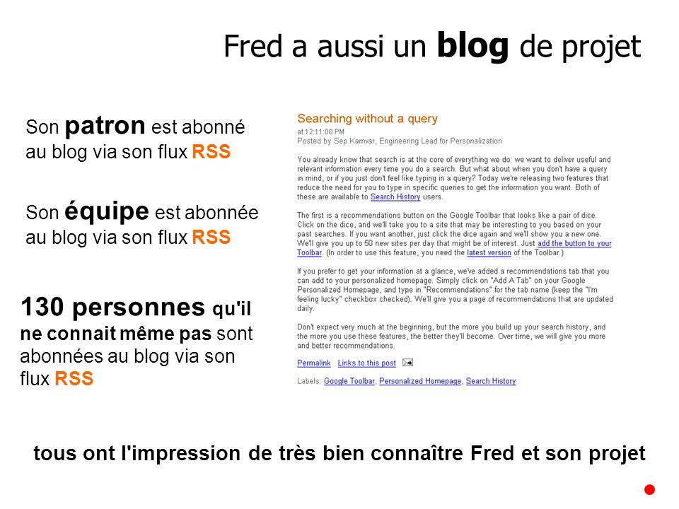 Son patron est abonné au blog via son flux RSS 130 personnes qu'il ne connait même pas sont abonnées au blog via son flux RSS tous ont l'impression de