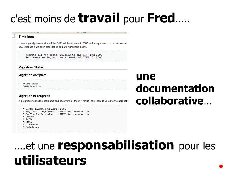 c'est moins de travail pour Fred ….. ….et une responsabilisation pour les utilisateurs une documentation collaborative…