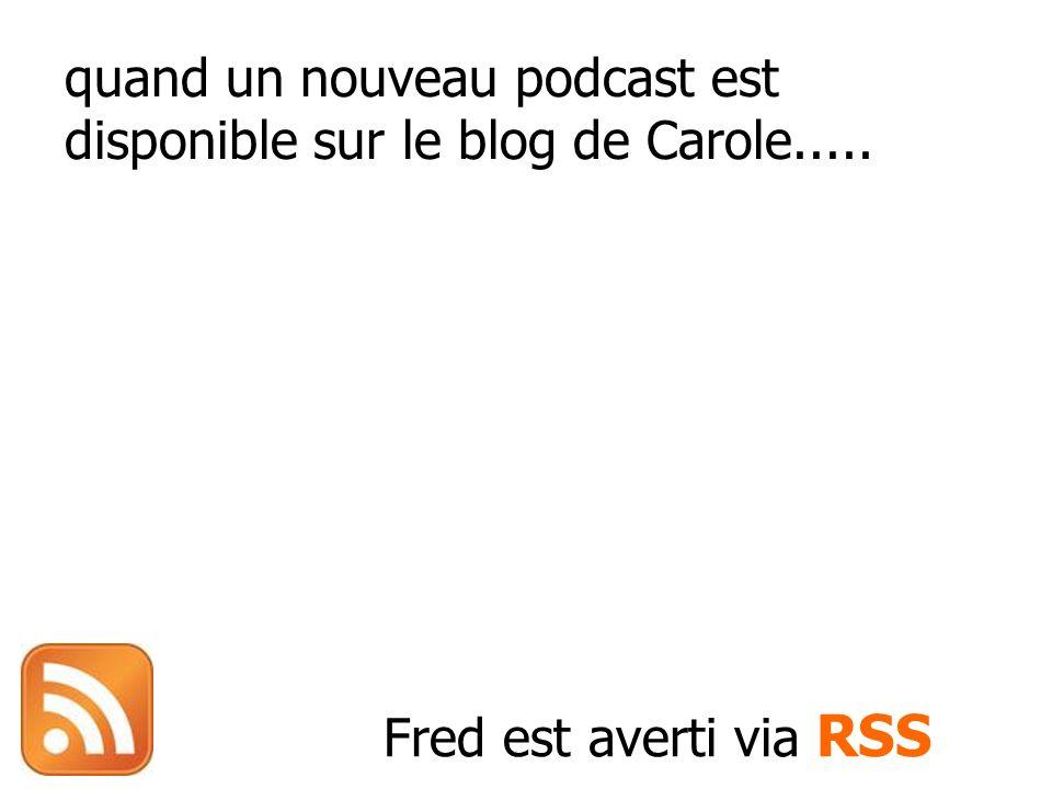 quand un nouveau podcast est disponible sur le blog de Carole..... Fred est averti via RSS