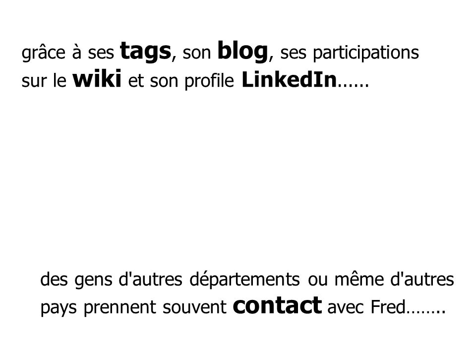 grâce à ses tags, son blog, ses participations sur le wiki et son profile LinkedIn...... des gens d'autres départements ou même d'autres pays prennent