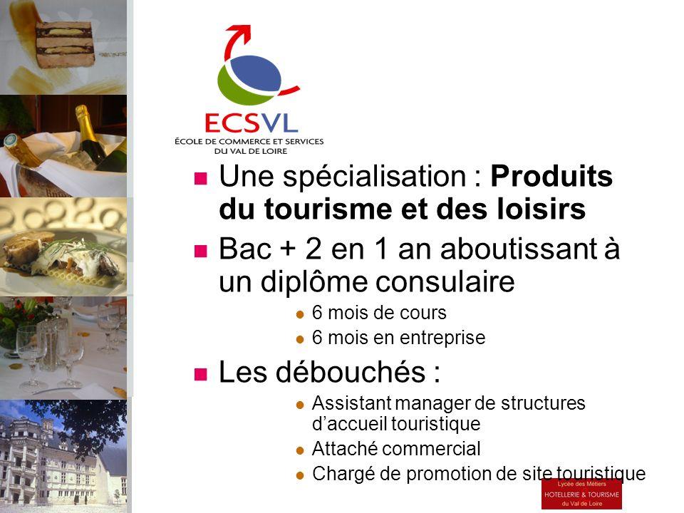 Une spécialisation : Produits du tourisme et des loisirs Bac + 2 en 1 an aboutissant à un diplôme consulaire 6 mois de cours 6 mois en entreprise Les