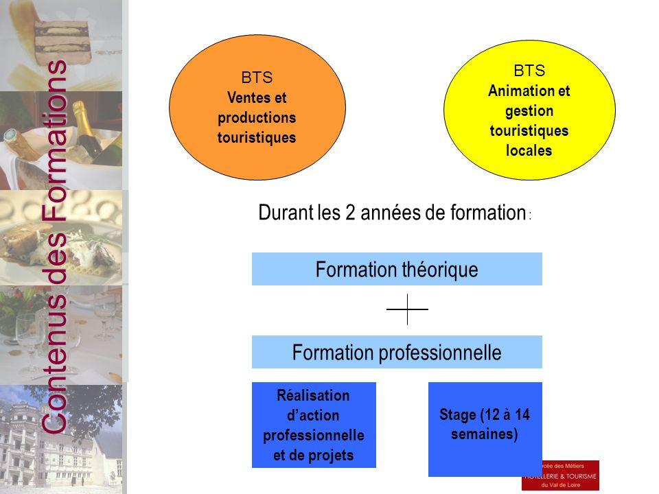 Contenus des Formations BTS Animation et gestion touristiques locales BTS Ventes et productions touristiques Formation théorique Durant les 2 années d