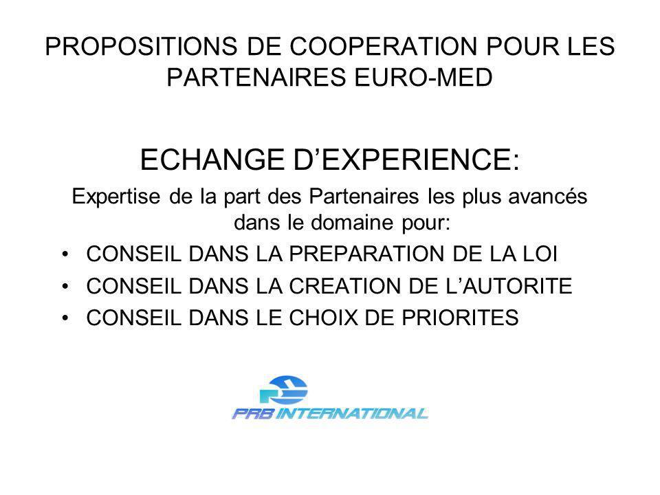 PROPOSITIONS DE COOPERATION POUR LES PARTENAIRES EURO-MED ECHANGE DEXPERIENCE: Expertise de la part des Partenaires les plus avancés dans le domaine p