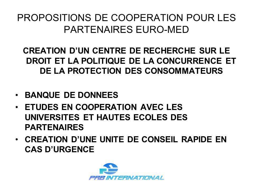 PROPOSITIONS DE COOPERATION POUR LES PARTENAIRES EURO-MED CREATION DUN CENTRE DE RECHERCHE SUR LE DROIT ET LA POLITIQUE DE LA CONCURRENCE ET DE LA PROTECTION DES CONSOMMATEURS BANQUE DE DONNEES ETUDES EN COOPERATION AVEC LES UNIVERSITES ET HAUTES ECOLES DES PARTENAIRES CREATION DUNE UNITE DE CONSEIL RAPIDE EN CAS DURGENCE