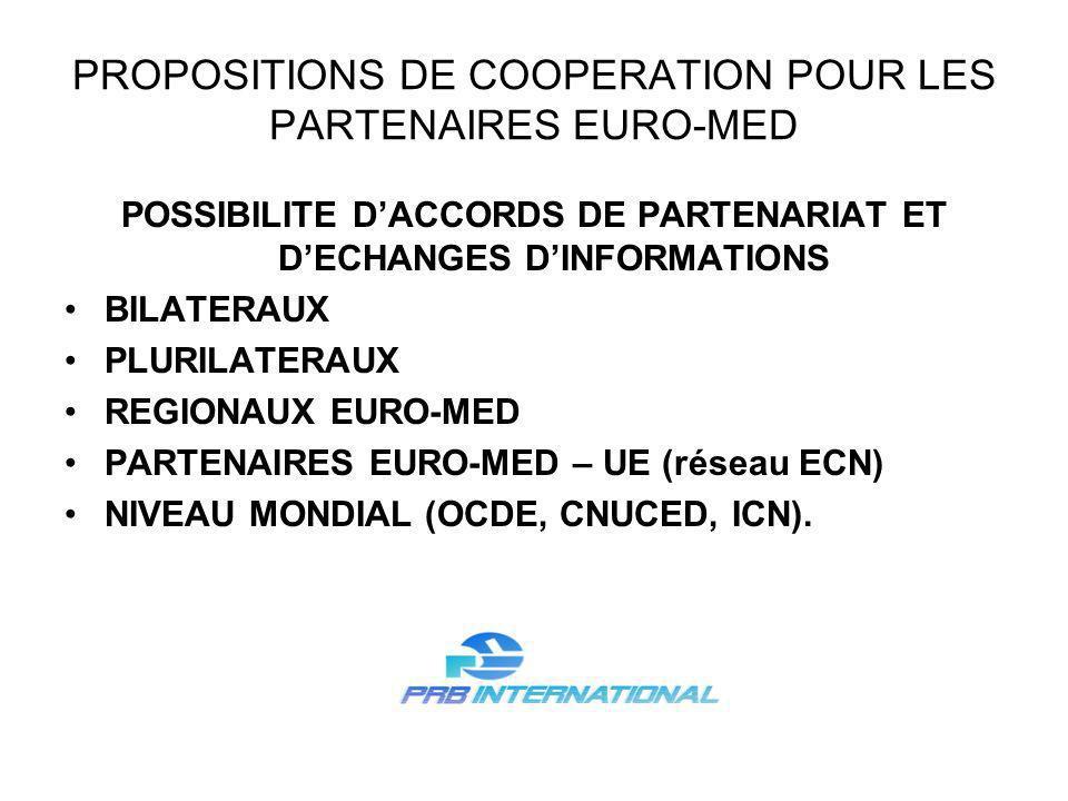 PROPOSITIONS DE COOPERATION POUR LES PARTENAIRES EURO-MED POSSIBILITE DACCORDS DE PARTENARIAT ET DECHANGES DINFORMATIONS BILATERAUX PLURILATERAUX REGIONAUX EURO-MED PARTENAIRES EURO-MED – UE (réseau ECN) NIVEAU MONDIAL (OCDE, CNUCED, ICN).