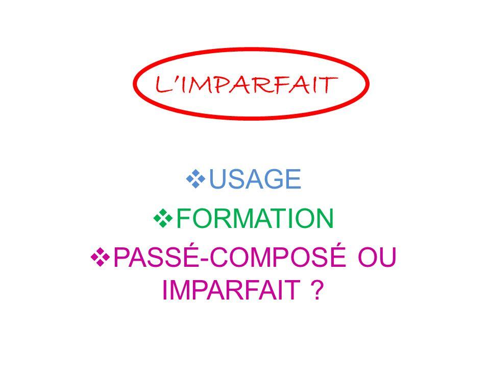 LIMPARFAIT USAGE FORMATION PASSÉ-COMPOSÉ OU IMPARFAIT ?