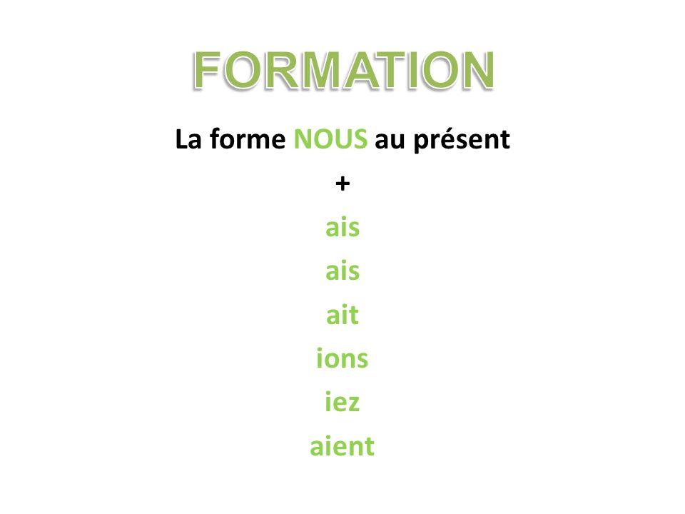 La forme NOUS au présent + ais ait ions iez aient